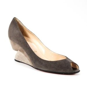Christian Louboutin Taupe Suede Wedges - Size 39.5